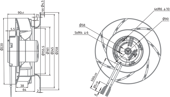 backward curved  u00d8 220 mm ec centrifugal fans manufacturer