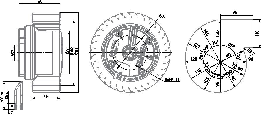 forward curved  u00d8 133 mm ec centrifugal fans manufacturer