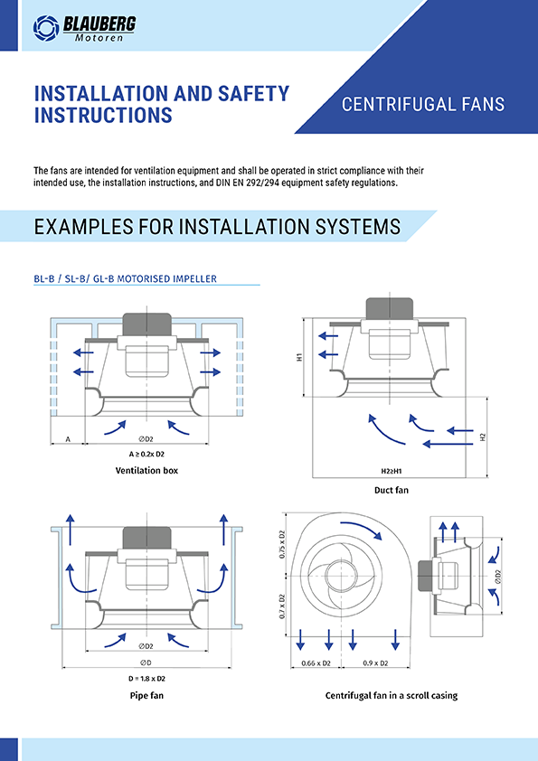 Installation and safety instructions (Centrifugal fans)